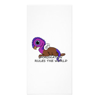 Purple & Blue Squite Imagination rules the world Card