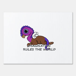 Purple & Blue Squite Imagination rules the world Signs