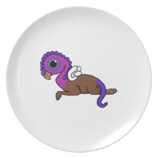 Purple & Blue Squite Pocket Gryphon Laying down Dinner Plate