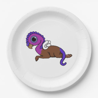 Purple & Blue Squite Pocket Gryphon Laying down Paper Plate