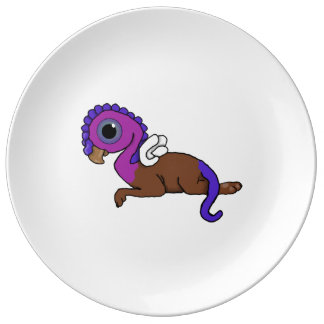 Purple & Blue Squite Pocket Gryphon Laying down Porcelain Plate