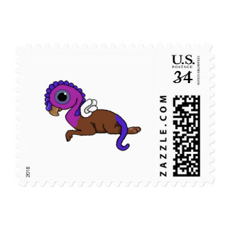 Purple & Blue Squite Pocket Gryphon Laying down Postage Stamp