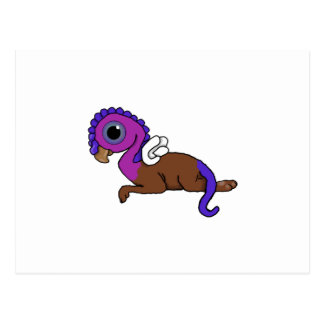 Purple & Blue Squite Pocket Gryphon Laying down Postcard