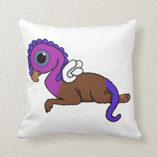 Purple & Blue Squite Pocket Gryphon Laying down Throw Pillow
