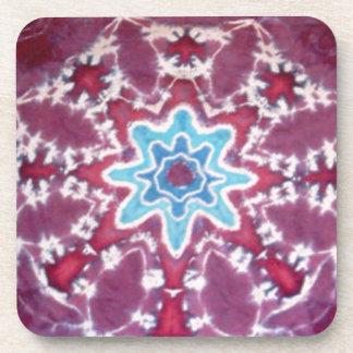 Purple Blue Star Pattern Tie Dye Drink Coaster