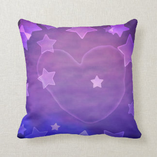 Purple&Blue Stars&Water manchó el tiro del corazón Cojín