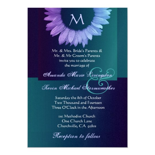 Purple Blue Teal Colored Sunflower Wedding Card