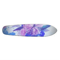 Purple, Blue & Teal Floral Printed Longboard Skateboard Deck