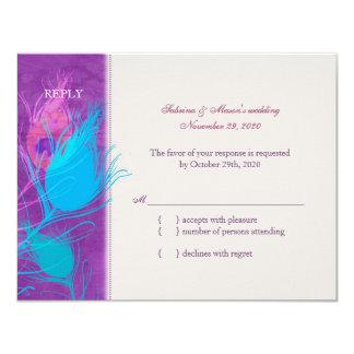 "Purple, Blue, Teal Peacock Wedding RSVP(4.25x5.5) 4.25"" X 5.5"" Invitation Card"