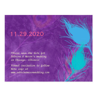 Purple, Blue, Teal Peacock Wedding Save the Date Postcard