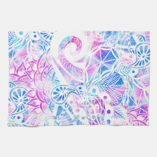 Purple Blue Teal White Hand Drawn Flowers Doodle Towel