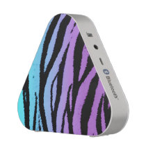 Purple Blue Tiger Animal Print Bluetooth Speaker