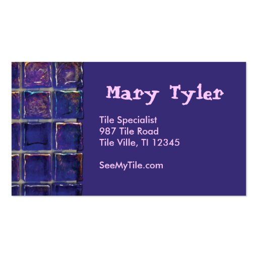 purple blue tile business card