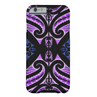 Purple blue traditional Maori tattoo design Barely There iPhone 6 Case