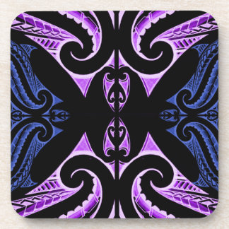 Purple blue traditional Maori tattoo design Drink Coaster