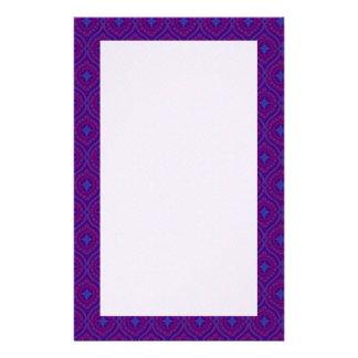 Purple, Blue Traditonal Ogee Pattern Stationery