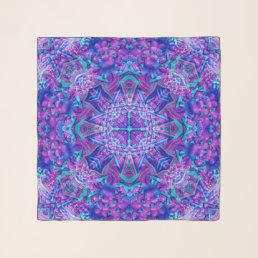 Purple  Blue Vintage Kaleidoscope  Chiffon Scarf