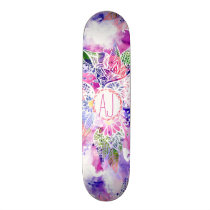 Purple blue watercolor abstract floral monogram skateboard deck