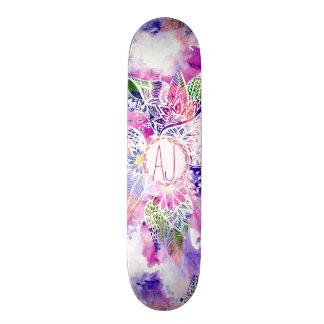 Purple blue watercolor abstract floral monogram skateboard deck