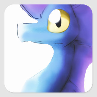Purple/Blue Watercolor Dragon 1 Square Sticker