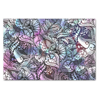 "Purple blue watercolor floral hand drawn pattern 10"" x 15"" tissue paper"