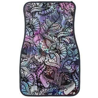 Purple blue watercolor floral hand drawn pattern car mat