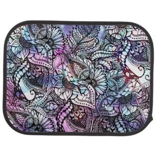 Purple blue watercolor floral hand drawn pattern car mat
