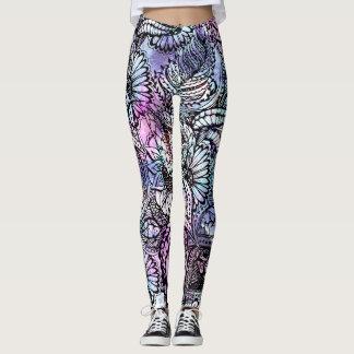 Purple blue watercolor floral hand drawn pattern leggings
