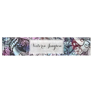 Purple blue watercolor floral hand drawn pattern name plate