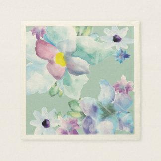 Purple & Blue Watercolor Flowers Shower Napkins