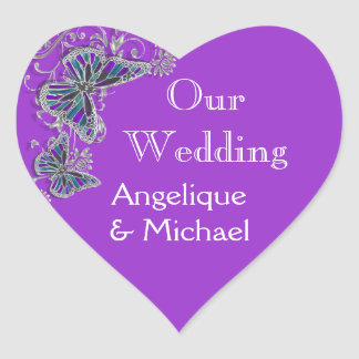 Purple blue wedding butterfly floral heart sticker