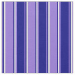 [ Thumbnail: Purple, Blue & White Striped Pattern Fabric ]