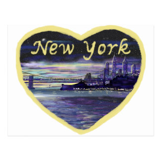 Purple Blue Yellow New York City Sunset Painting Postcard