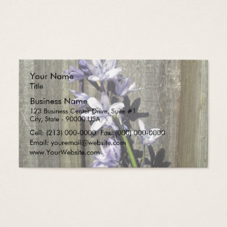 Purple Bluebell against old gate Business Card
