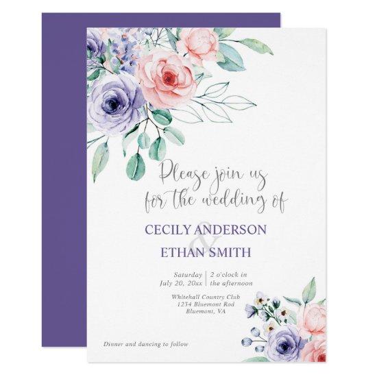 Purple & Blush Pink Watercolor Flowers Wedding Invitation