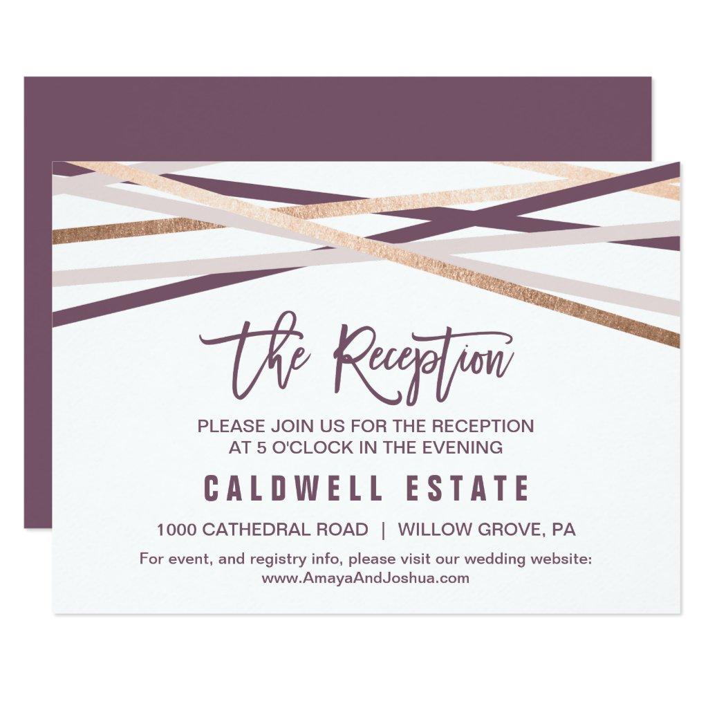 Purple Blush & Rose Gold Streamer Reception Insert Card