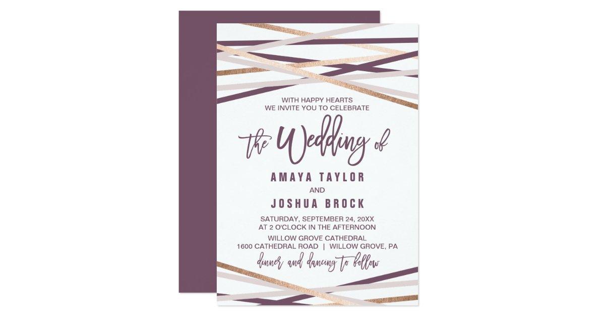 Purple Rose Wedding Invitations: Purple Blush & Rose Gold Streamers The Wedding Of