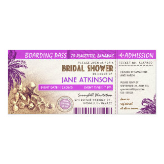purple boarding pass tickets for Bridal Shower Card