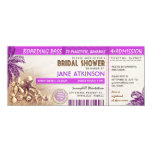 purple boarding pass tickets for Bridal Shower 4x9.25 Paper Invitation Card