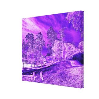 Purple Boat House Scene Wrapped Canvas