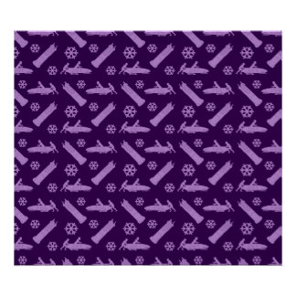 purple bobsled pattern poster