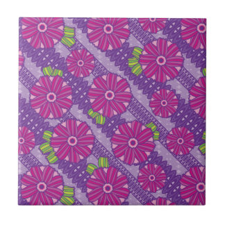 Purple Boho Blossoms Ceramic Tile