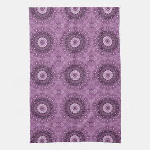 Purple Boho Chic Abstract Kaleidoscope Kitchen Towel