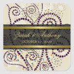 Purple Boho Spirals Elegant Chic Wedding Stickers