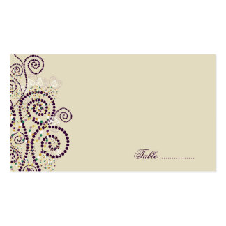 Purple Boho Spirals Elegant Wedding Place Cards Double-Sided Standard Business Cards (Pack Of 100)