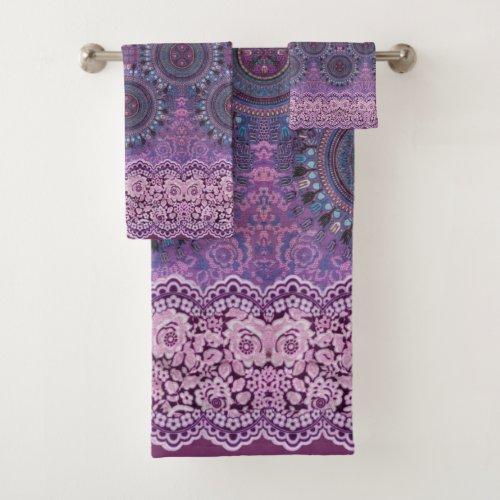 Purple Boho Style Bath Towel Set