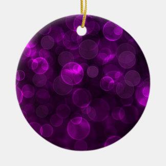 Purple Bokeh Ceramic Ornament