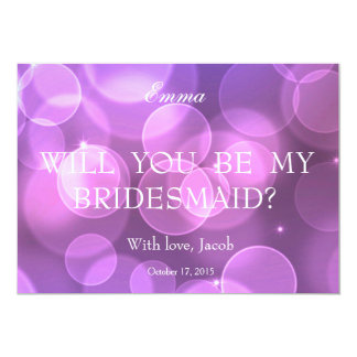 Purple Bokeh Glitter Will You Be My Bridesmaid Card