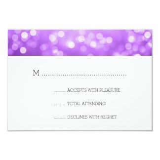 Purple Bokeh Lights Elegant Wedding RSVP 3.5x5 Paper Invitation Card