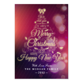Purple Bokeh Lights Holly Christmas Happy New Year Card